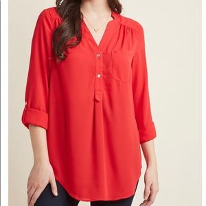ModCloth Pam Breeze-ly Blouse in Tomato Red 3X